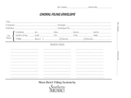 Musidex Choral Filing Envelopes