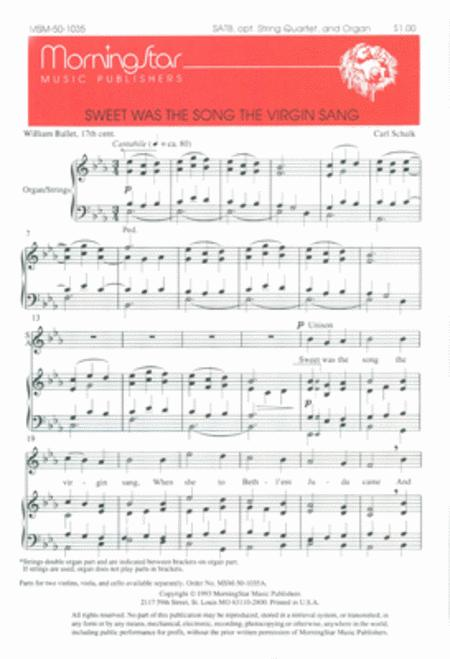 Sweet Was the Song the Virgin Sang (Choral Score)