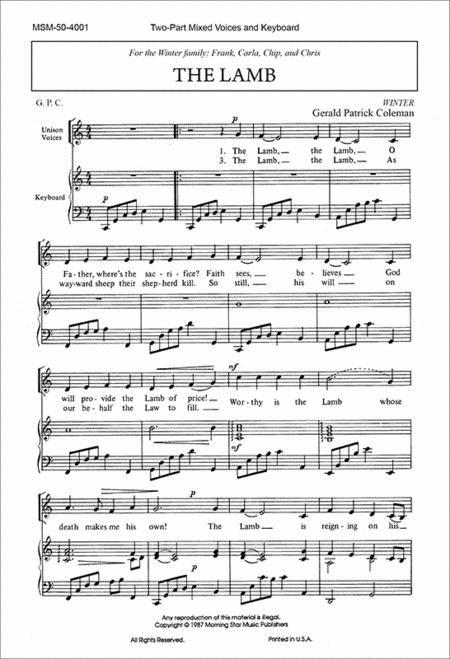 The Lamb (Choral Score)