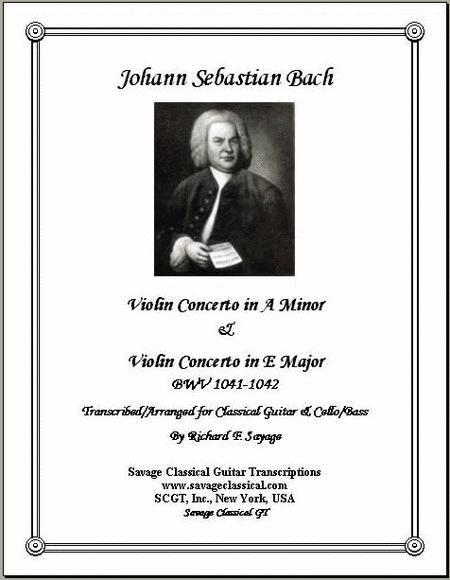 2 Violin Concertos for Solo Classical Guitar & Bass/Cello with Guitar Part