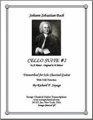 Cello Suite 2 with TAB Stave for Solo Classical Guitar