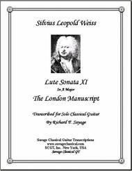 Lute Sonata XI in A Major from the London Manuscript for Solo Classical Guitar