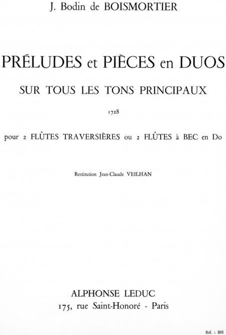Preludes et Pieces en Duos Sur - Tous Les Tons Principaux 2 Fl.Trav.Ou Fab en Do