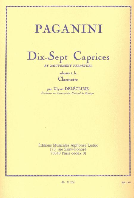 17 Caprices et Mouvement Perpetuel - Clarinette