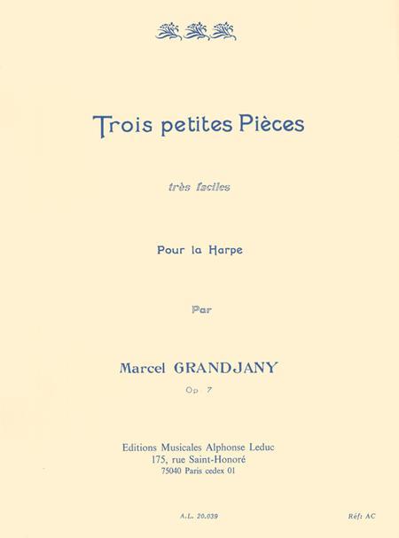 3 Petites Pieces Tres Faciles Op7 Harpe