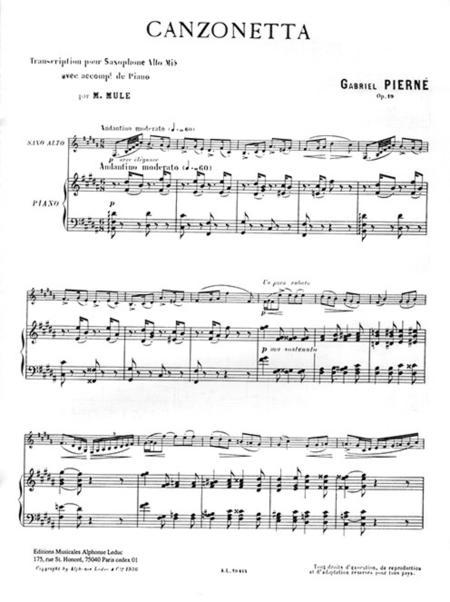 Canzonetta  Alto Saxophone and Piano Gabriel Pierné Book Only AL19414