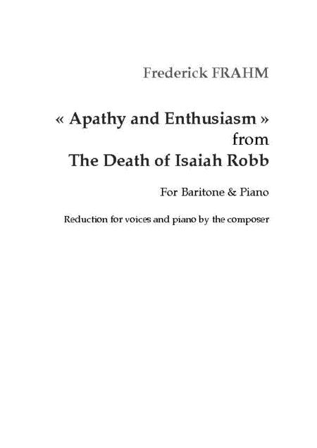 Apathy and Enthusiasm from The Death of Isaiah Robb