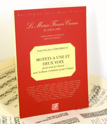 Motets for one and two voices for the whole choir with continuo bass for the organ.