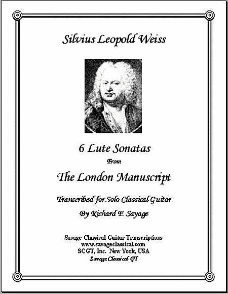 6 Lute Sonatas from the London Manuscript for Solo Classical Guitar