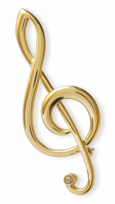 Gold-plated brooch : large treble clef