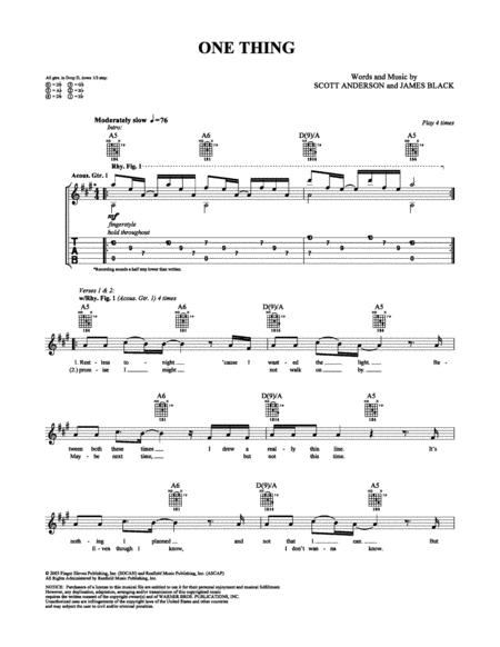 Download One Thing Sheet Music By Finger Eleven - Sheet Music Plus