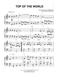Download top of the world sheet music by john bettis sheet music.
