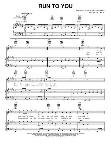 Download Run To You Sheet Music By Bryan Adams Sheet Music Plus