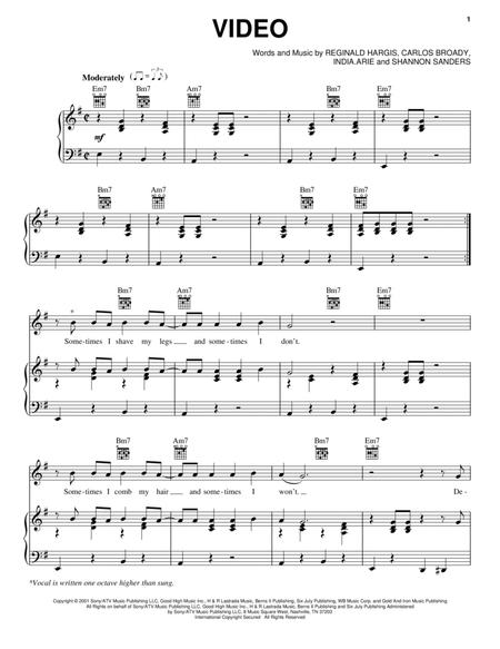 Download Video Sheet Music By India.Arie - Sheet Music Plus
