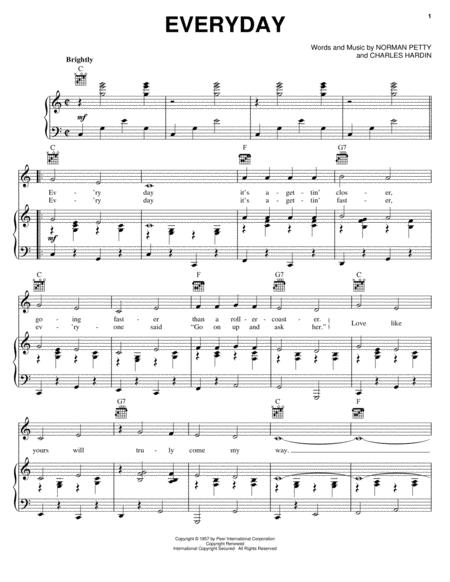 Download Everyday Sheet Music By Buddy Holly - Sheet Music Plus