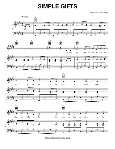 The christmas song chords simple gifts