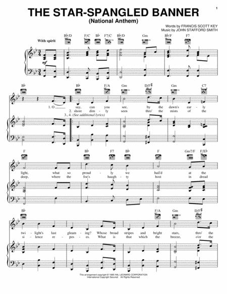 the star spangled banner for piano solo