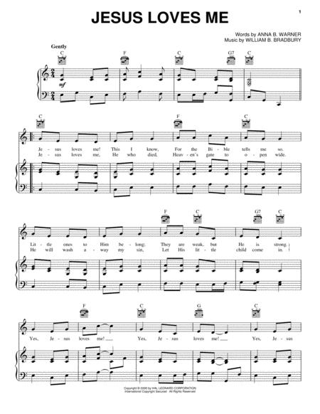 Download Jesus Loves Me Sheet Music By Anna B Warner Sheet Music Plus