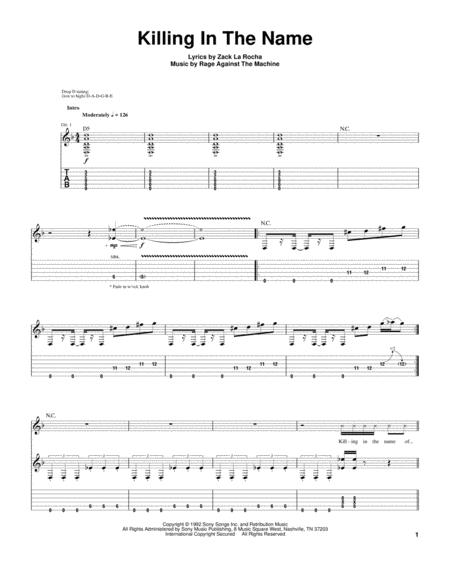 Download Killing In The Name Sheet Music By Rage Against The