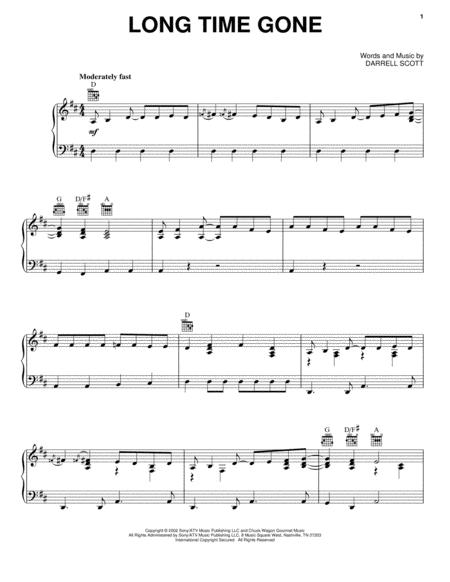Download Long Time Gone Sheet Music By Dixie Chicks - Sheet Music Plus