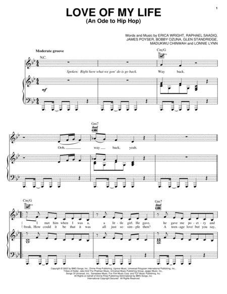 Download Love Of My Life (An Ode To Hip Hop) Sheet Music By Erykah ...