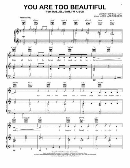 Download You Are Too Beautiful Sheet Music By Lorenz Hart - Sheet