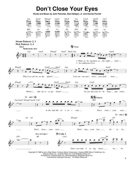 Download Dont Close Your Eyes Sheet Music By Kix Sheet Music Plus
