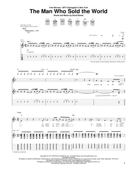 Download The Man Who Sold The World Sheet Music By Nirvana - Sheet ...