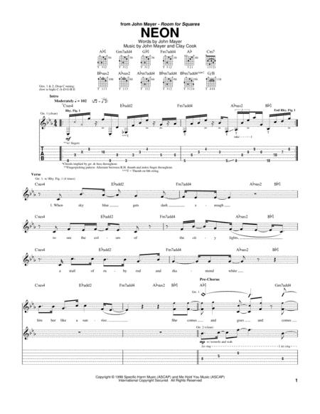 Download Neon Sheet Music By John Mayer Sheet Music Plus