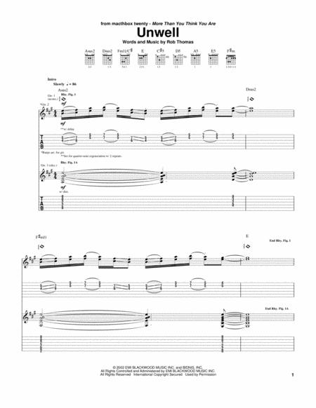 Download Unwell Sheet Music By Matchbox Twenty Sheet Music Plus