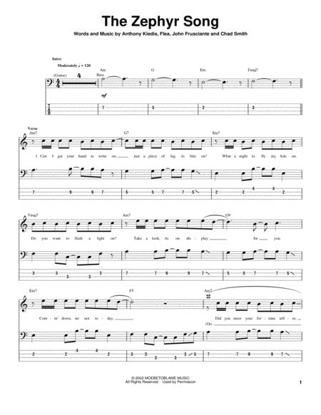 Download The Zephyr Song Sheet Music By The Red Hot Chili Peppers