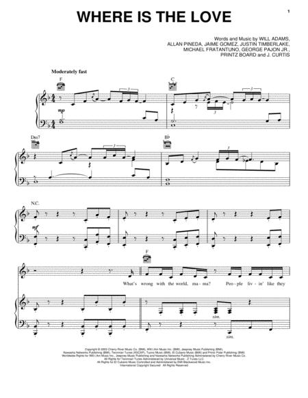 Where Is The Love By The Black Eyed Peas Digital Sheet Music For Piano Vocal Guitar Download Print Hx 6478 Sheet Music Plus