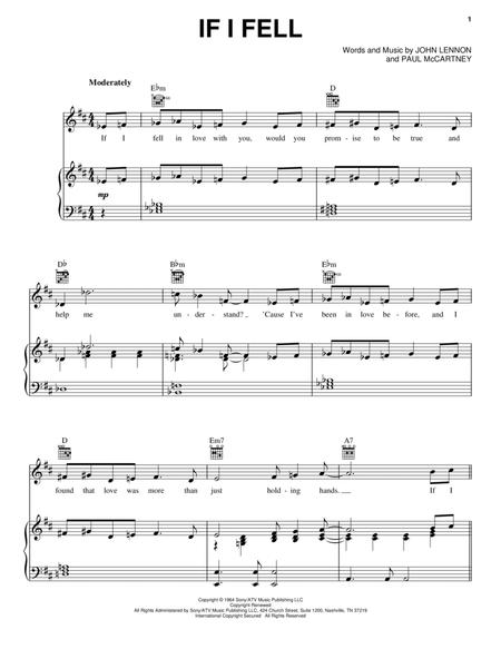 Download If I Fell Sheet Music By The Beatles Sheet Music Plus