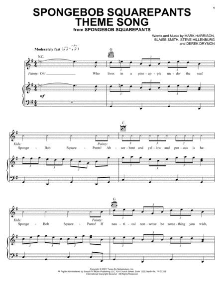 Download SpongeBob SquarePants Theme Song Sheet Music By Mark