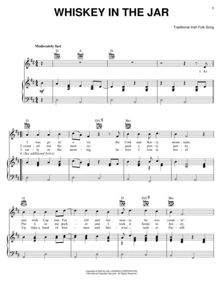 Download Whiskey In The Jar Sheet Music By Irish Folk Song Sheet
