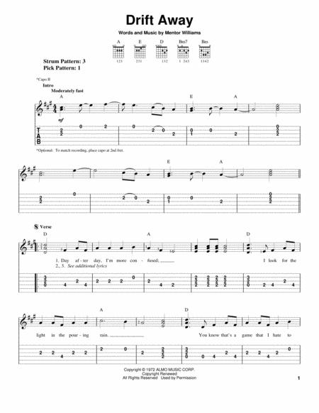 Download Drift Away Sheet Music By Dobie Gray - Sheet Music Plus