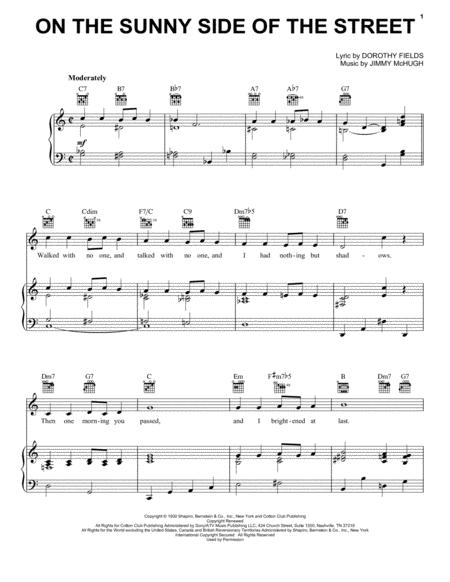 Download On The Sunny Side Of The Street Sheet Music By Jimmy Mchugh