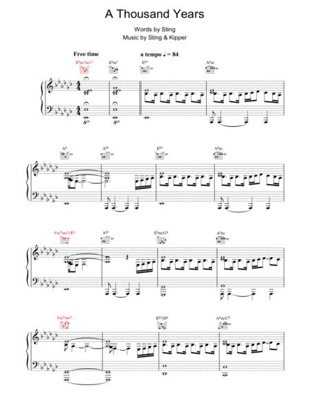 Download A Thousand Years Sheet Music Sheet Music Plus
