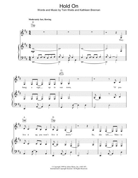 Download Hold On Sheet Music By Tom Waits Sheet Music Plus