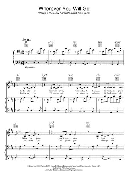 Download Wherever You Will Go Sheet Music By The Calling - Sheet ...