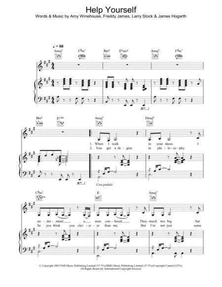 Download Help Yourself Sheet Music By Amy Winehouse Sheet Music Plus