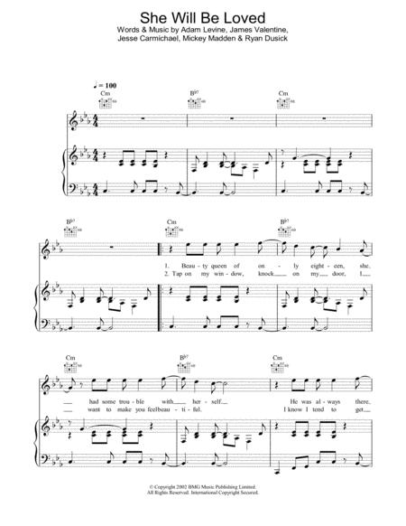 Download She Will Be Loved Sheet Music By Maroon 5 - Sheet Music Plus