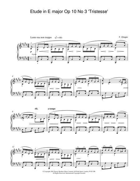 Etude In E Major, Op. 10, No. 3 (Tristesse)