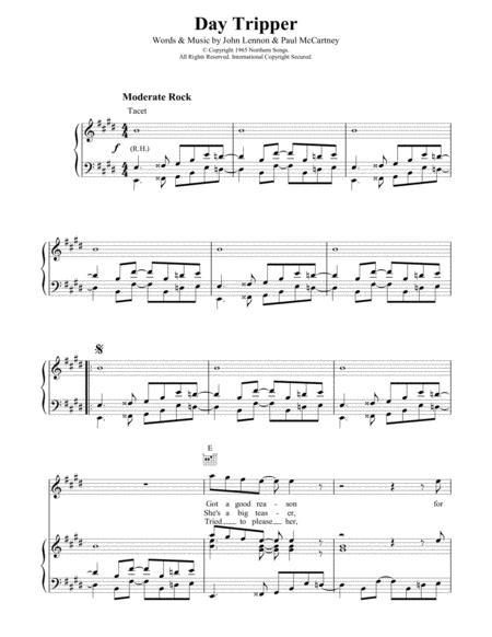 Download Day Tripper Sheet Music By John Lennon Sheet Music Plus