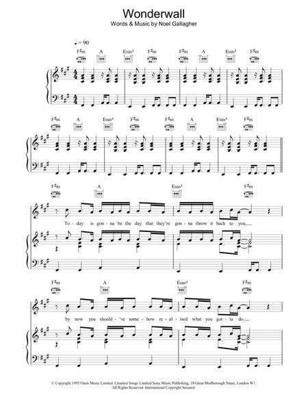 Download Wonderwall Sheet Music By Oasis Sheet Music Plus