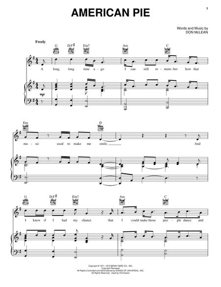 Download American Pie Sheet Music By Don McLean - Sheet Music Plus
