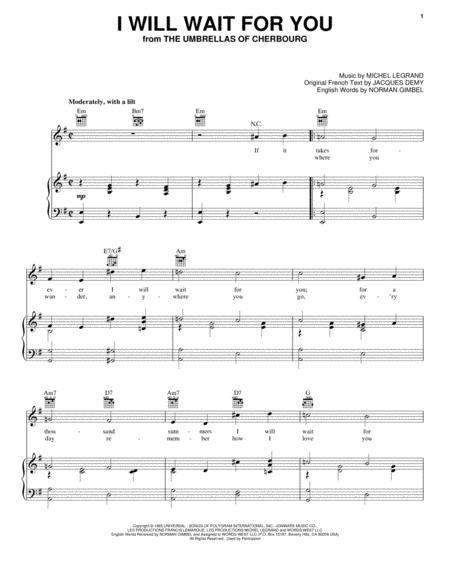 Download I Will Wait For You Sheet Music By Michel Legrand - Sheet ...