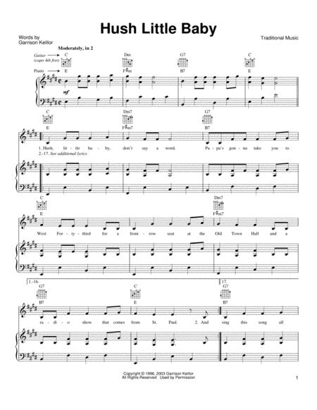 Download Hush Little Baby Sheet Music By Garrison Keillor - Sheet ...
