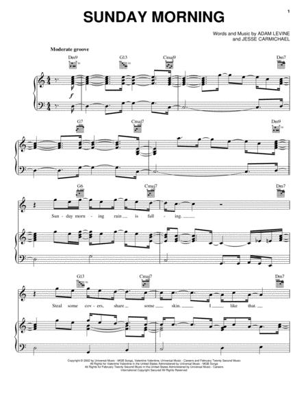 Download Sunday Morning Sheet Music By Maroon 5 Sheet Music Plus
