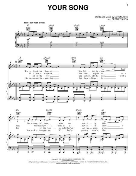 Download Your Song Sheet Music By Elton John Sheet Music Plus